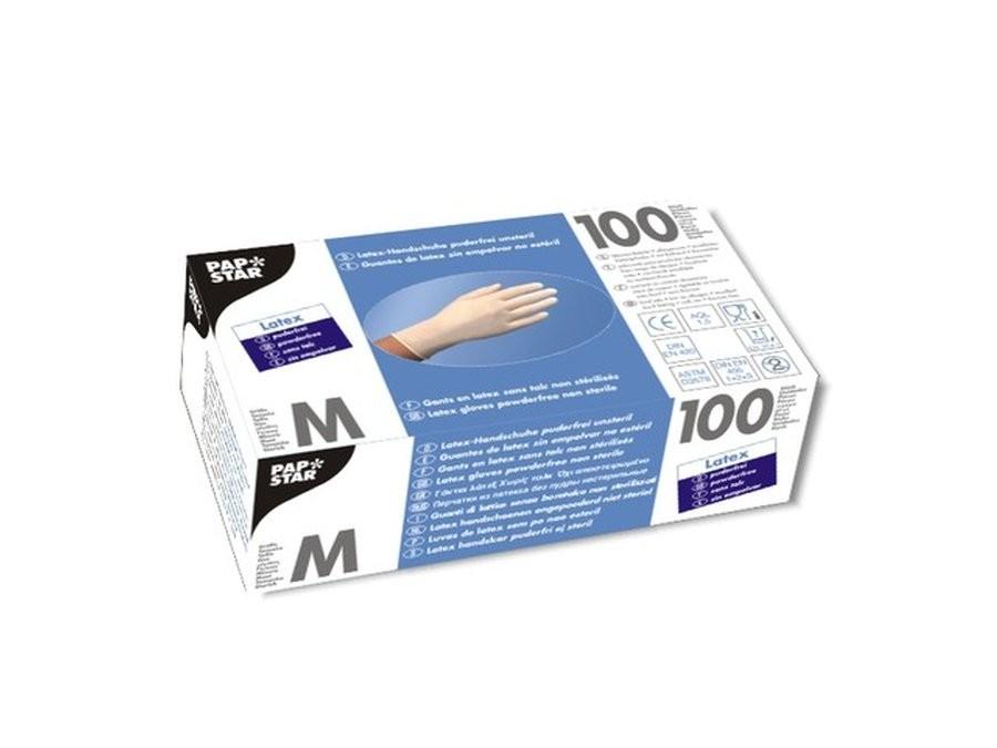 Handschoenen Latex poedervrij maat M 100 stuks