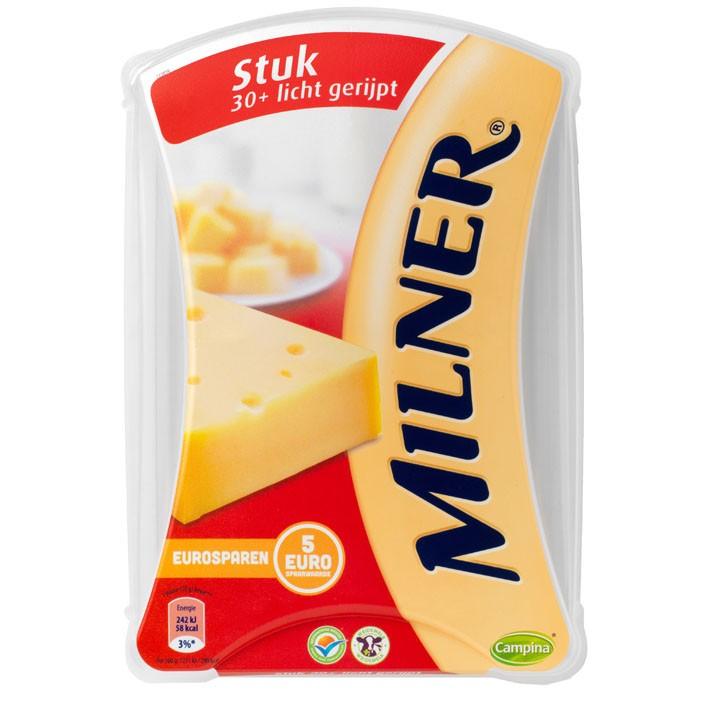 Kaas Milner 30+ licht gerijpt 450 gram