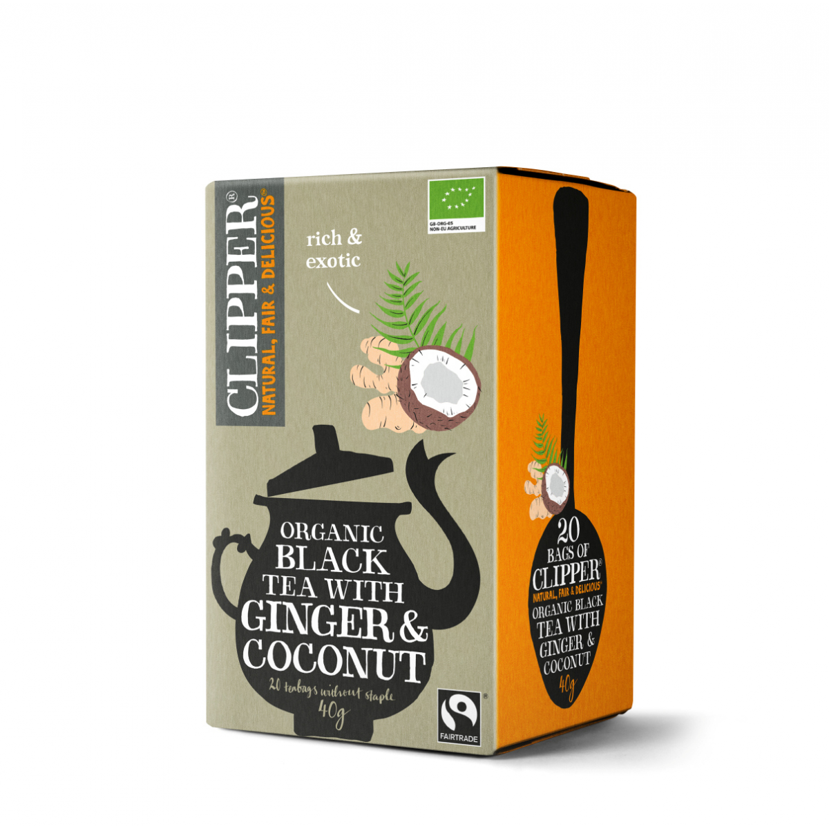 Thee Clipper black tea ginger & coconut pakje