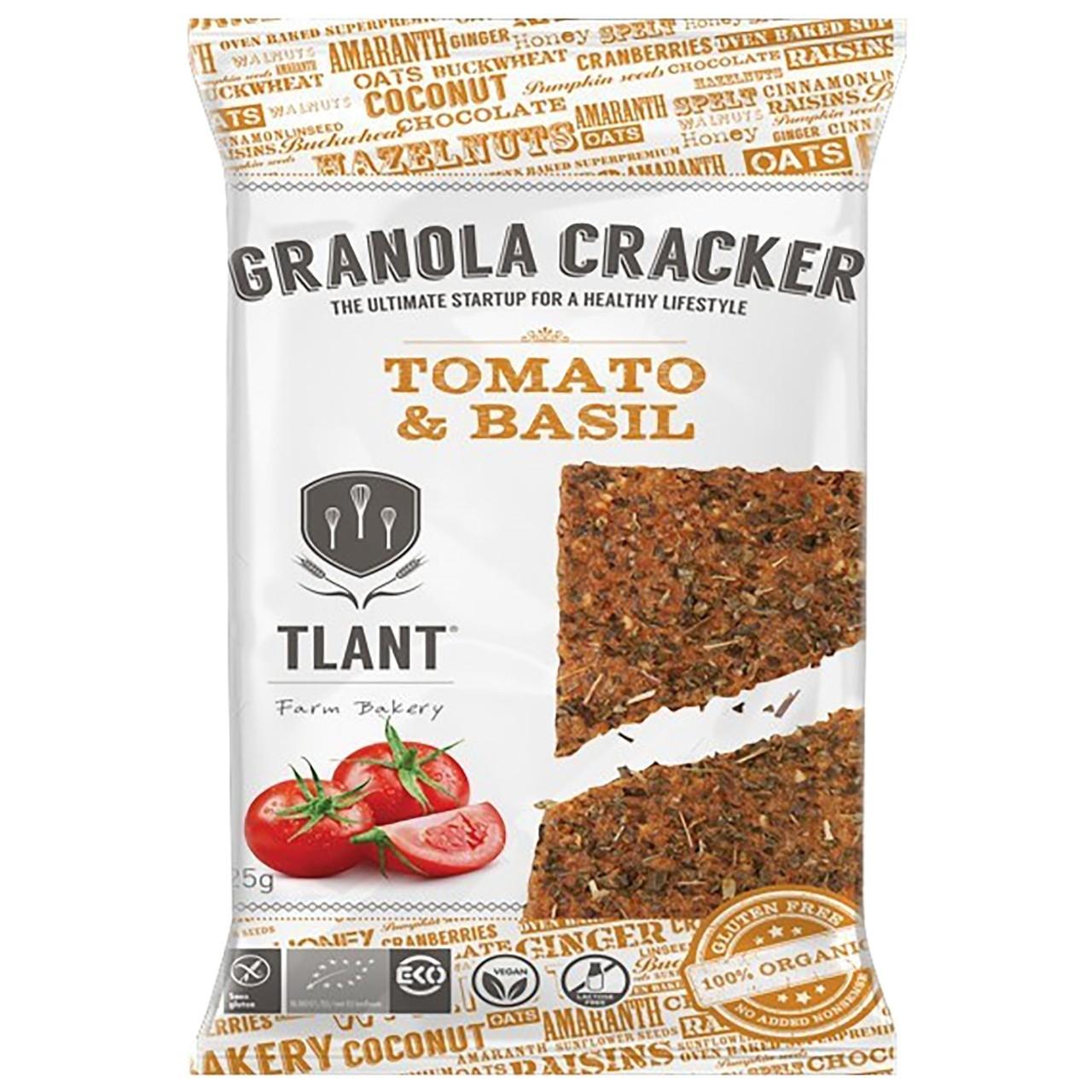 Tlant granola cracker tomaat basilicum glutenvrij 20 x 25 gram