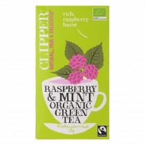 Clipper  raspberry & mint organic green tea pakje