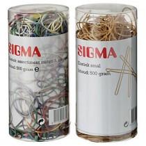 Elastiekjes Sigma assorti verschillende kleuren koker 500gram