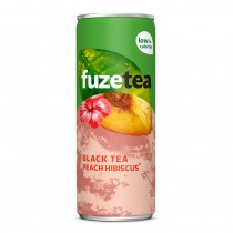 Icetea Fuze tea peach hibiscus tray blikjes 24 x 25 cl.
