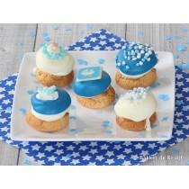 Geboorte luxe koek blauw 5 stuks (Banketbakker)