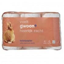 Toiletpapier 4 laags G'woon 6 rollen
