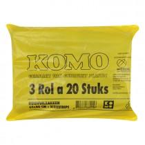 Vuilniszakken Komo 60 stuks 60 x 80 cm 3 rollen