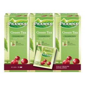 Thee Pickwick Groene thee cranberry  3 x 25 x 2 gram