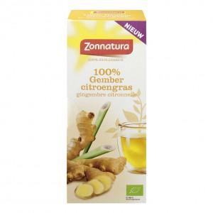 Thee Zonnatura gember en citroengras bio pakje